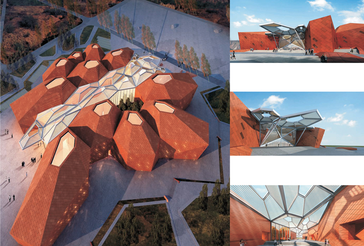 Zhangye Geological Museum, Pottery Clay Panel Curtain Wall, Metallic Panel Curtain Wall & Glass Curtain Wall